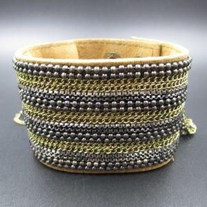 Vintage 8 Inch Stylish Leather & Chains Bracelet